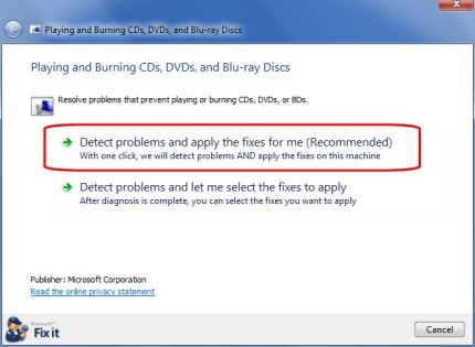 Playing and Burning CDs, DVDs, and Blu-ray Discs in Microsoft Fix it