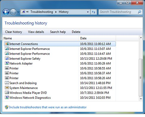 Troubleshooting history window