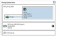 Storage System View with mSATA cache drive