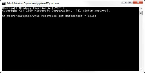Image: Type wmic reconverts set AutoReboot = False