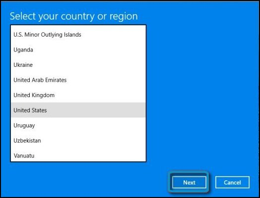 Selecting your country or region from the drop-down menu
