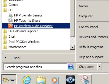 Finding HP Wireless Audio Manager