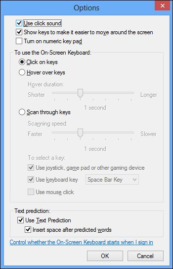 The On-Screen Keyboard Options menu