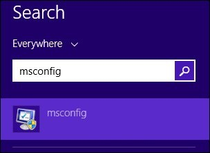 The search results for msconfig