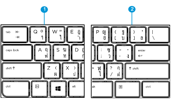 Thai keyboard detail left and right