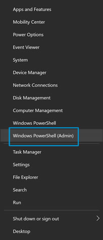 Emplacement de l'option Windows PowerShell (admin)