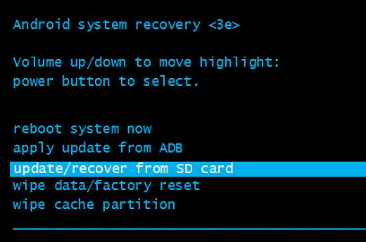 update/recover from SD card highlighted in Android system recovery menu