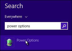 Opciones de energía en la pantalla de búsqueda