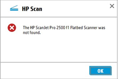 HP ScanJet - Error messages display on the scanning software in a