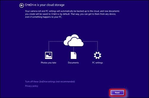 OneDrive is your cloud storage page, with Next encircled in red