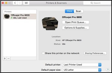 Example of the Printers & Scanners window