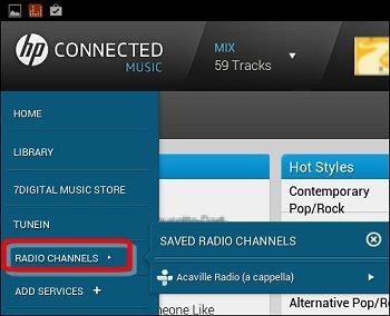 Estações de rádio no menu suspenso do HP Connected Music