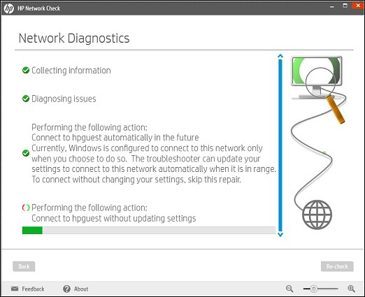 HP Network Check window