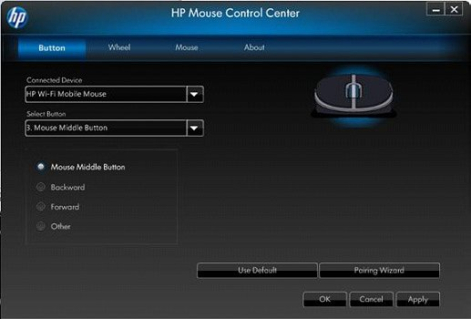 Image of the Mouse Control Center's Button tab - mouse middle button.