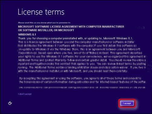 The License terms page of the Windows 8.1 installation process, with I accept encircled in red