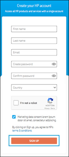 Complete all the required fields to create an HP sign-in account
