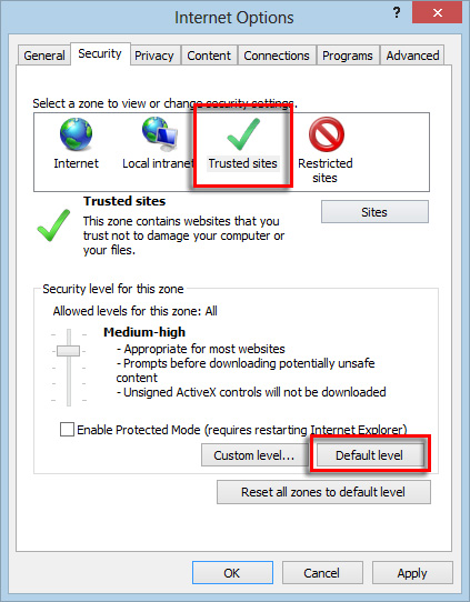 Internet Options Security tab with Default level selected