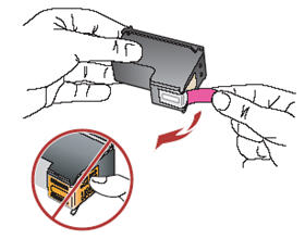 Image: Remove the protective tape. Do not touch the copper colored contacts.