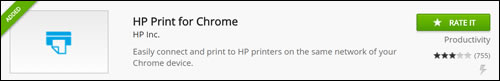 Installierte HP Print for Chrome-App