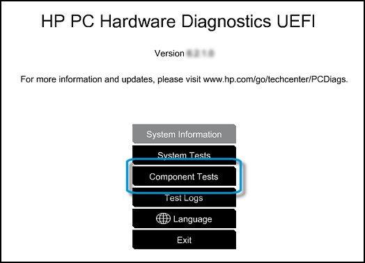 Menú principal de UEFI con Pruebas de componentes seleccionado