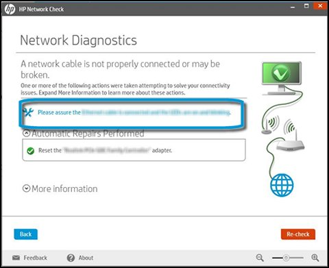 HP Network Check tool icon highlighted