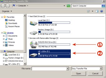 Image of the Easy Transfer File screen showning drive options.