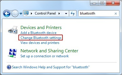 Opening the Bluetooth settings
