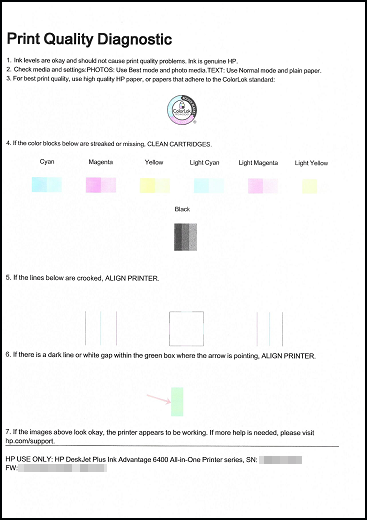Example of Print Quality Diagnostic report