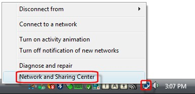Opening the Network and Sharing Center