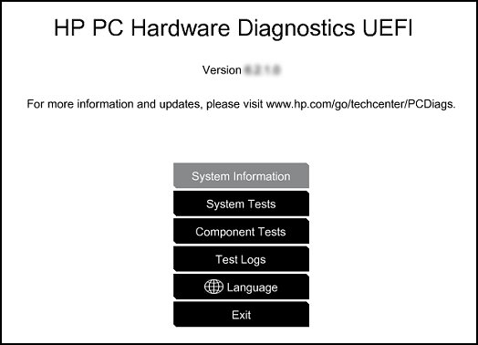 HP PC Hardware Diagnostic UEFI screen