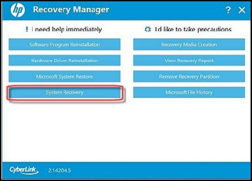 Recovery manager with white background for desktops manufactured in 2014 or after