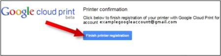 Image shows where to click to finish printer registration