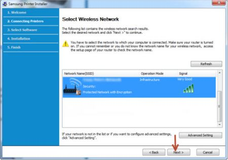Image shows selecting the wireless network