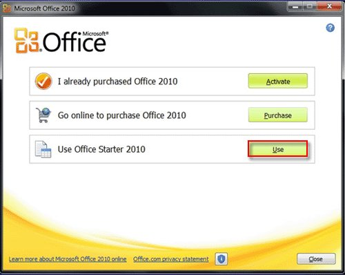 Office 2010 Selection Screen