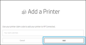 Type the printer code, and then click Add