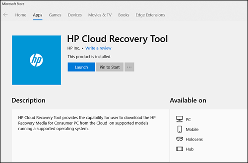 HP Cloud Recovery Tool installed