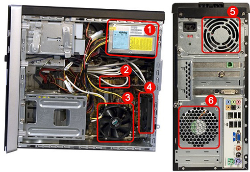 Fan locations on a ATX case.