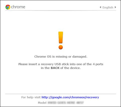 Chrome OS is missing or damaged error screen