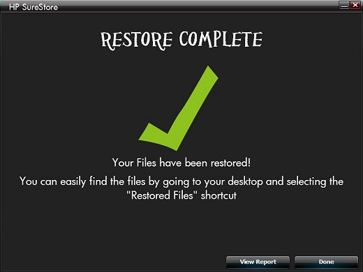 This window is displayed when the restore is completed.