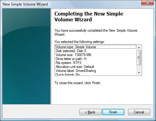Image of the New Simple Volume Settings window.