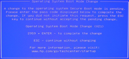 Boot mode change message