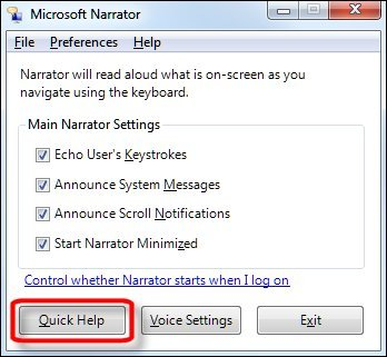 Narrator preferences window with Quick Help button selected