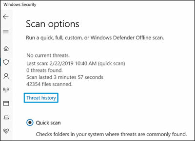 Selecting Threat history in Scan options