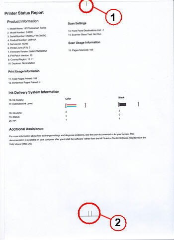 Illustration: Measure marks on the printer status page