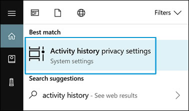 Click on 'Activity history privacy settings' in the list of results.