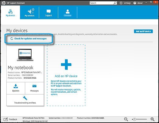 Check for updates and messages in HP Support Assistant