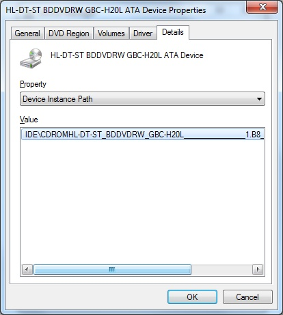 Device Instance Path Value in Windows 7.