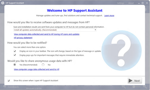 HP Support Assistant 歡迎畫面的影像