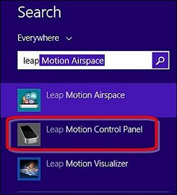 Panel de control de Leap Motion en la pantalla de búsqueda de Windows 8