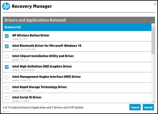 Image: List of drivers to reinstall
